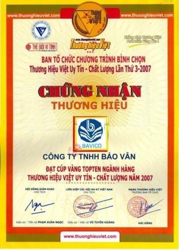 Chứng nhận Thương Hiệu Việt